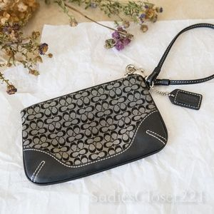 Coach Black Signature Canvas Wristlet
